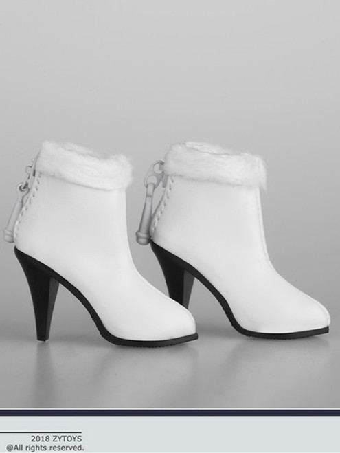 [ZY-1012B] 1:6 White Ankle Boots with Fur by ZY Toys