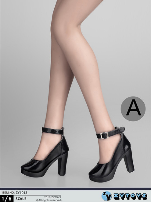 [ZY-1013A] 1:6 Black High Heel Shoes by ZY Toys