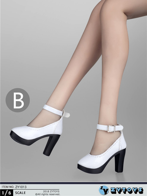[ZY-1013B] 1:6 White High Heel Shoes by ZY Toys