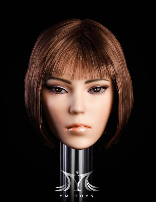 [YMT-14A] 1/6 Female Head with Dark Brown Hair by YM Toys