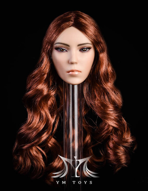 [YMT-14C] 1/6 Female Head with Medium Copper Brown Hair by YM Toys