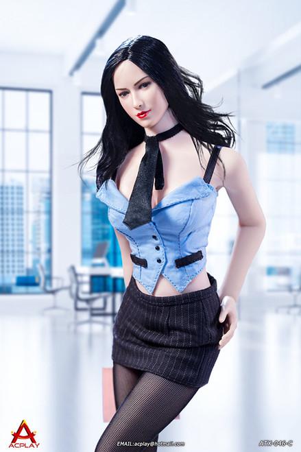 [AP-ATX046C] 1/6 Sexy Female Secretary Light Blue Suit by ACPLAY