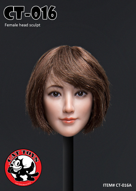 [CAT-016A] 1/6 Female Head Sculpts with Short Brown Hair by Cat Toys