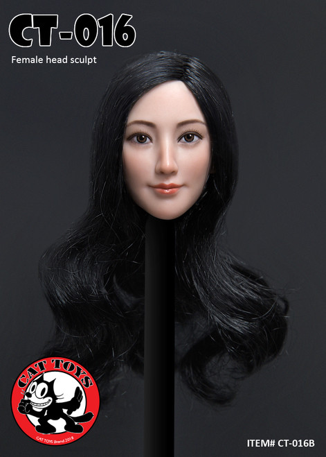 [CAT-016B] 1/6 Female Head Sculpts with Long Black Hair by Cat Toys