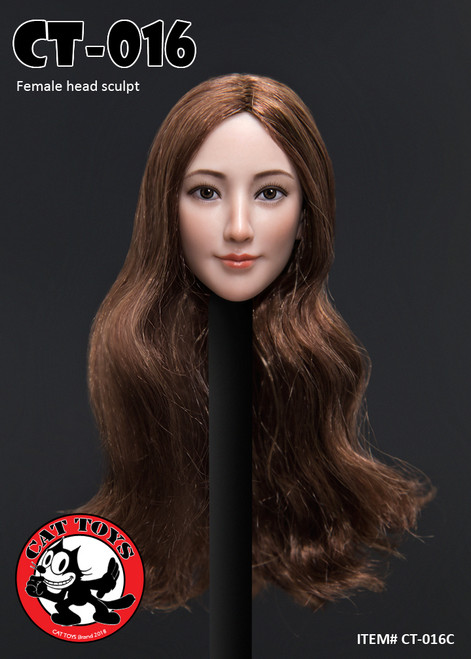 [CAT-016C] 1/6 Female Head Sculpts with Long Brown Hair by Cat Toys