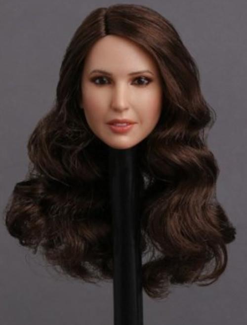 [GAC-018D] 1:6 European and American Women's Head Sculpt Curly Long Brown Hair by GACTOYS