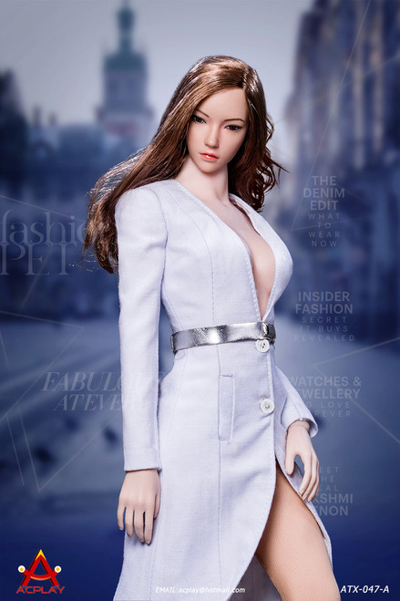 [AP-ATX047A] 1/6 Fashionable White Deep V-Necktrench Coat by ACPLAY