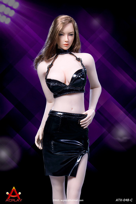 [AP-ATX048C] 1/6 Sexy Lady Black Leather Skirt by ACPLAY