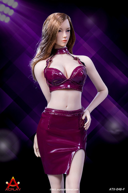 [AP-ATX048F] 1/6 Sexy Lady Burgundy Leather Skirt by ACPLAY