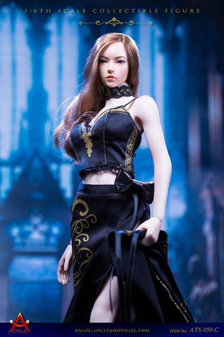 [AP-ATX050C] 1/6 Queen Style Long Retro Skirt in Black by ACPLAY