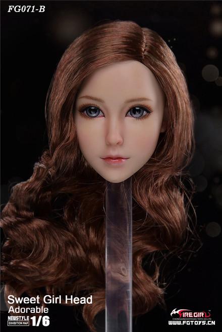 [FG-071B] 1/6 Otaku Sweet Girl Head Sculpture with Brown Hair by Fire Girl Toys