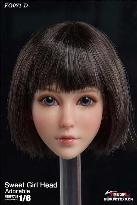 [FG-071D] 1/6 Otaku Sweet Girl Head Sculpture with Black Hair by Fire Girl Toys