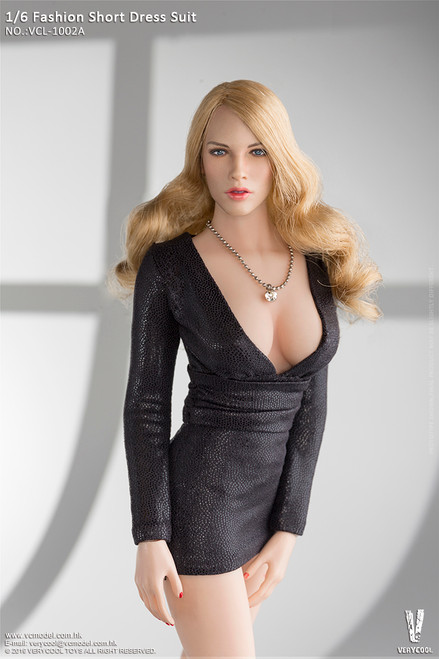 [VCL-1002A] 1/6 Black Fashion Short Dress Suit Mini Skirt by Very Cool