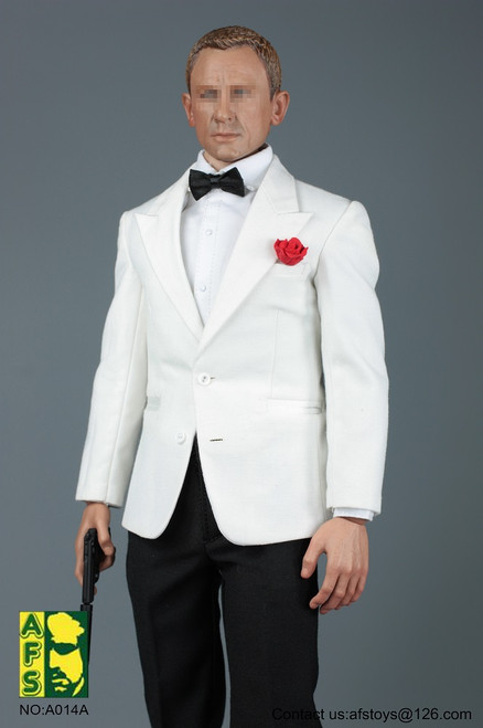 [AFS-A014C] 1:6 Royal Agent White Suit Set with Head by AFS Toys