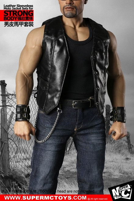 [MC-F73] Leather Sleeveless Moto Jacket Sets for Phicen body by Super MC Toys