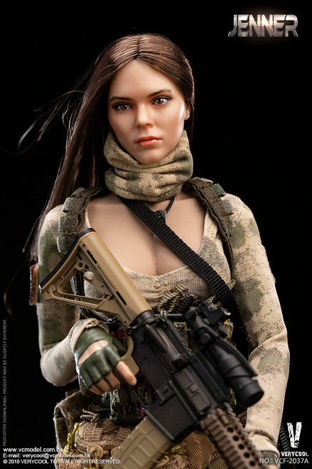 [VCF-2037ABC] A-TACS FG Double 1/6 Women Soldier JENNER A & B Style with Dog by Very Cool