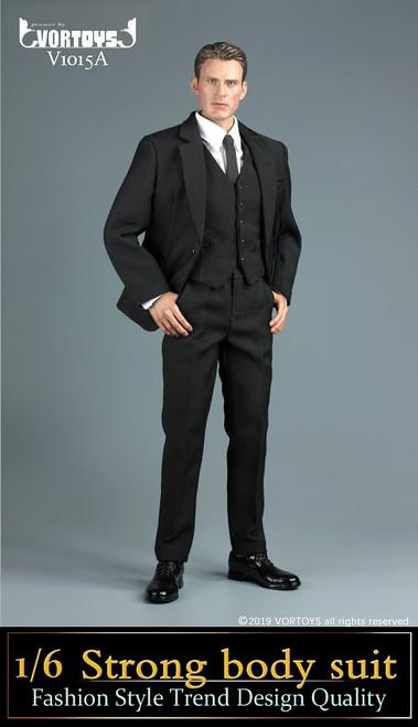 [VOR-1015A] 1/6 Black Strong Body Suit by VORTOYS