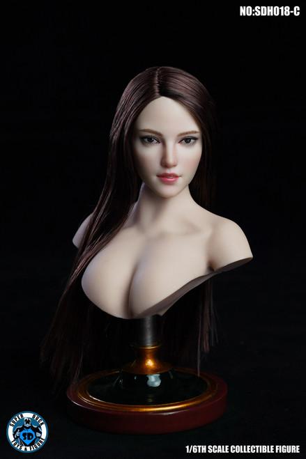 [SUD-SDH018C] 1/6 Caucasian Headsculpt with Brown Hair by Super Duck