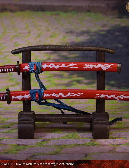 [WK-88005B] 1:6 Red Japanese Swords Katana with Stand by Wolf King