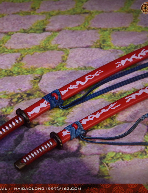 [WK-88005D] 1:6 Red Japanese Swords Katana by Wolf King