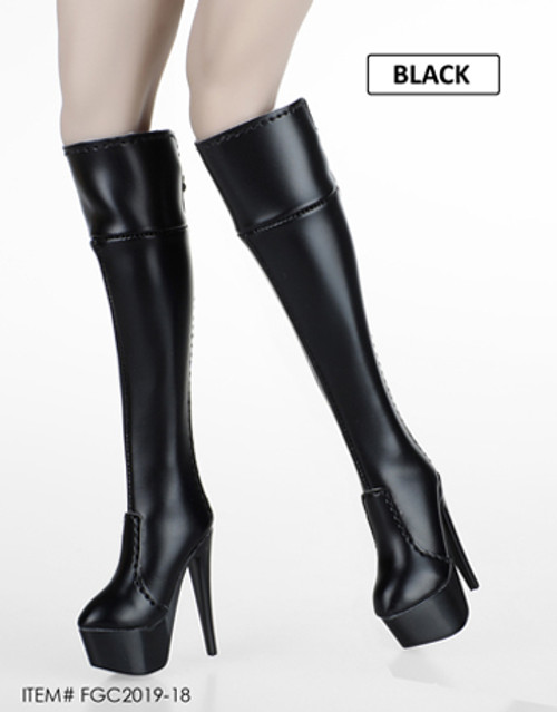 [FGC-2019-18] 1/6 Black Female Fashion Zipper Boots by Flirty Girl's