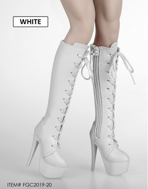 [FGC-2019-20] 1/6 White Female Fashion Laces Boots by Flirty Girl's