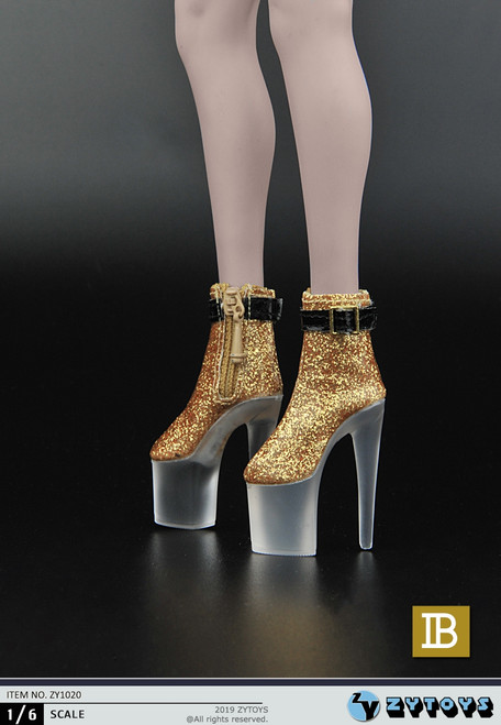 [ZY-1020B] 1/6 Female Gold Platform Shoes by ZY TOYS