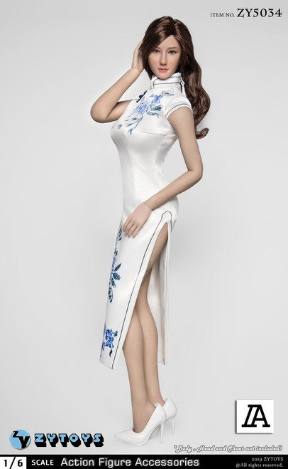 [ZY-5034A] 1/6 White Chinese Cheongsam Dress by ZY TOYS