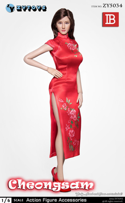 [ZY-5034B] 1/6 Red Chinese Cheongsam Dress by ZY TOYS