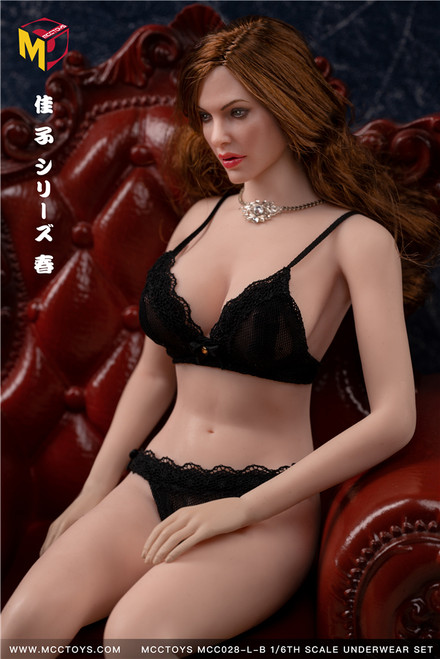[MCC-028-LB] Large Black Exquisite Bras & UnderPants Spring Camry Series by MCC TOYS