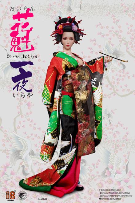 [i8-C002B] 1/6 Green & Red Long Furisode Oiran Ichiya Clothing Set by i8TOYS