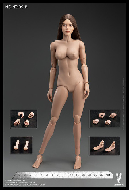 [VC-FX09B] Western Beauty Brown Hair Head Sculpt + VC 3.0 Female Body Set by Very Cool