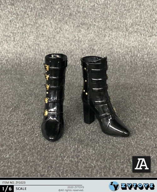 [ZY-1023A] 1/6 Black Lady High Heel Boots by ZY TOYS