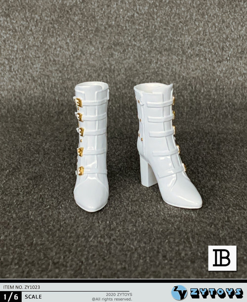 [ZY-1023B] 1/6 White Lady High Heel Boots by ZY TOYS