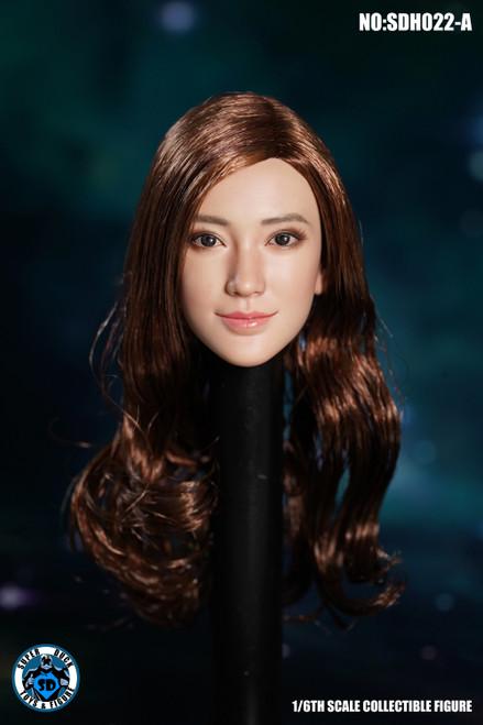[SUD-SDH022A] 1/6 Super Duck Asian Headsculpt with Brown Curly Hair