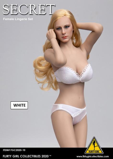 [FGC-2020-10] 1/6 Flirty Girl's White Female Strapless Bra and Panty Set