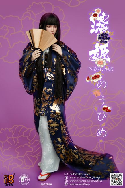 [i8-C003C] i8TOYS 1/6 Nohime Clothing Blue Uchikake Set Female Figure Accessories