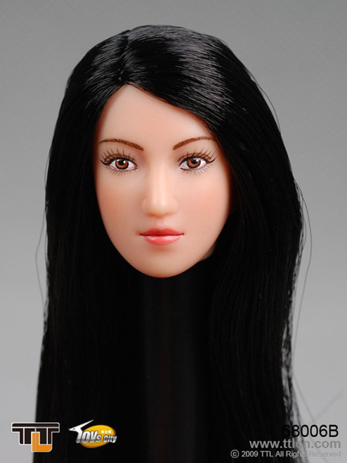 TTL Female Head with Long Straight Black Hairstyle (TTL-68006B)