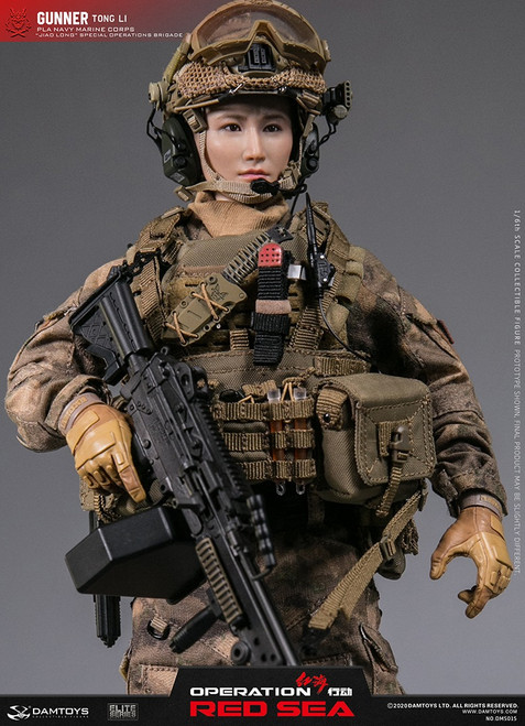 "[DMS015] 1/6 Dam Toys RED SEA PLA NAVY MARINE CORPS ""JIAO LONG""  SPECIAL OPERATIONS BRIGADE GUNNER TONG LI"