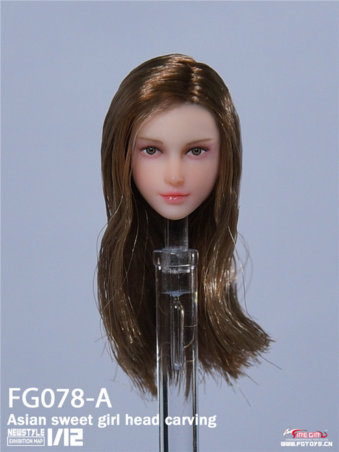 1:12 Fire Girl Toys Asian Sweet Girl Brown Head Carving [FG-078A]