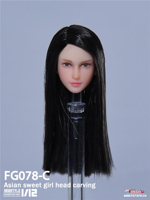 1:12 Fire Girl Toys Asian Sweet Girl Black Head Carving [FG-078C]