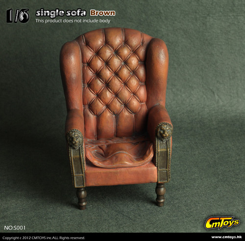 """CMTOYS – Single Sofa in Brown for 12"""" Action Figures (CMT-S001)"""
