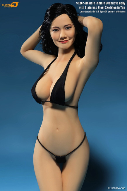 [PL-LB2014-S08] Super-Flexible Female Seamless Body with Stainless Steel Skeleton in Tan in Big Bust Size