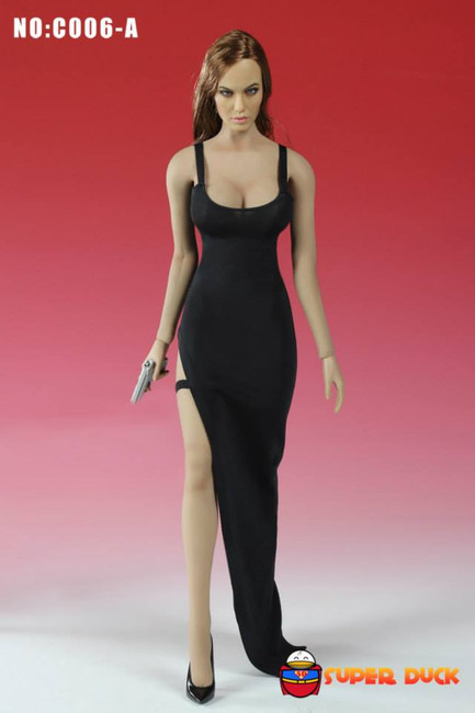 [SUD-C006A] Super Duck Sleeveless Bodycon Dress in Black for 1:6 Scale Female Figures