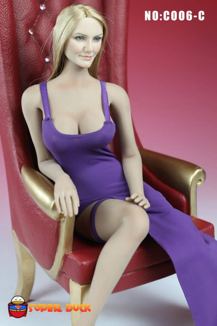 [SUD-C006B] Super Duck Sleeveless Bodycon Dress in Purple for 1:6 Scale Female Figures