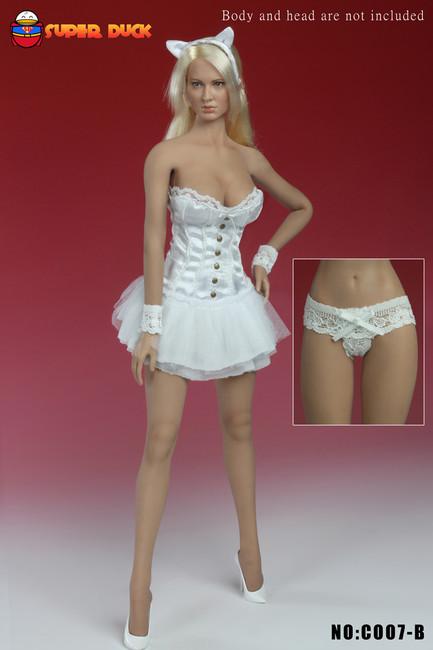 [SUD-C007B] 1/6 Super Duck Female Figure Sexy Basque Corset Dress in White