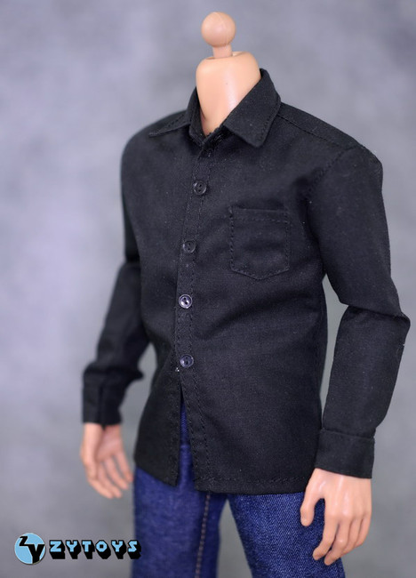 [ZY-7025] ZY Toys 1/6 Scale Black Shirt Fashion Set