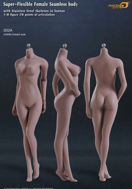 [PL-MB2015S02A] Phicen Limited Super-Flexible Female Seamless Middle Breast Body with Stainless Steel Skeleton in Suntan