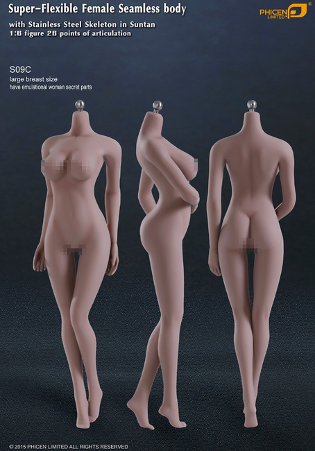 [PL-LB2015S09C] Phicen Limited Super-Flexible Female Seamless Large Breast Body with Stainless Steel Skeleton in Suntan