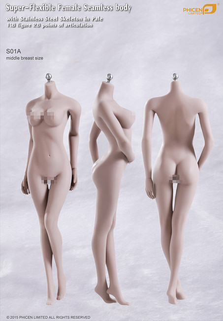 [PL-MB2015S01A] Phicen Limited Super-Flexible Female Seamless Middle Breast Body with Stainless Steel Skeleton in Pale